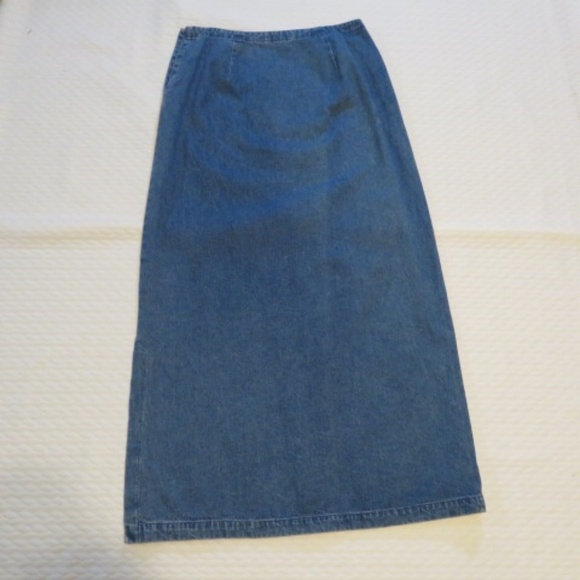 Eddie Bauer Dresses & Skirts - Eddie Bauer 100% Cotton Long Denim Skirt (H4)